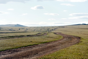 "As you can see, their highways can be a little confusing. ""Follow the white lines"" does not exactly apply in Mongolia."